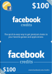 Facebook Credits Gift Card 100 USD US-регион